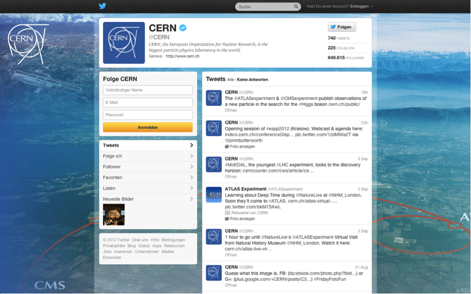 Figure 2. CERN's Twitter page.