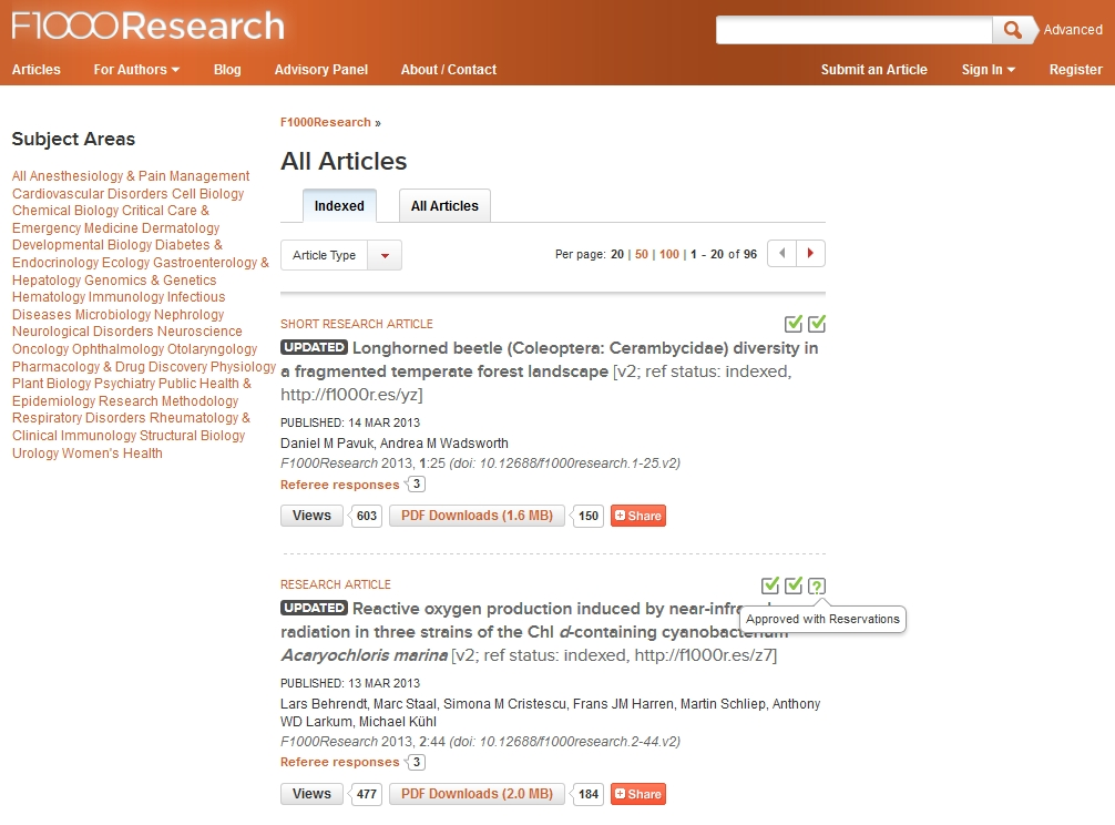 Figure 2. The article listing for F1000 Research, highlighting the way that evaluations are presented.
