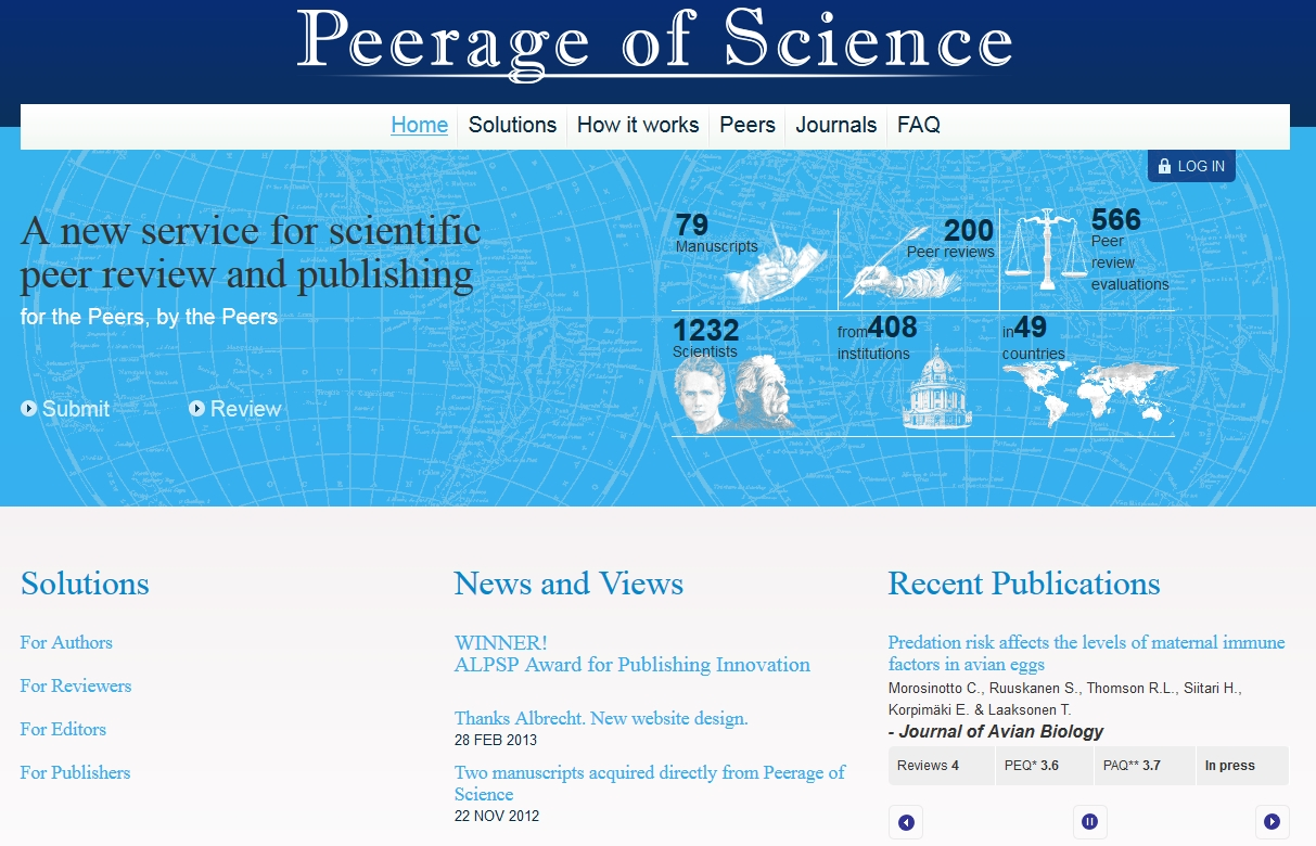 Figure 3. The Peerage of Science homepage.