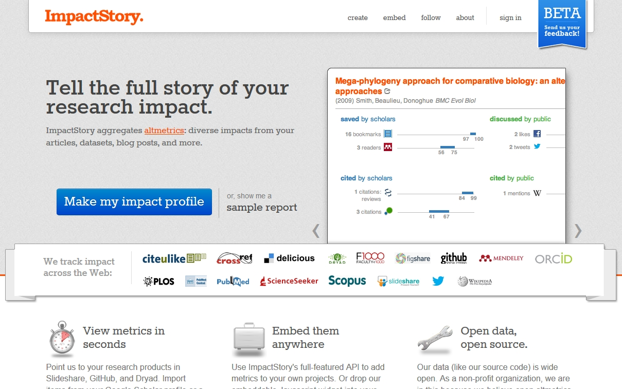 Figure 4. The Impact Story homepage, highlighting which sources they index and how they present metrics for a single article.