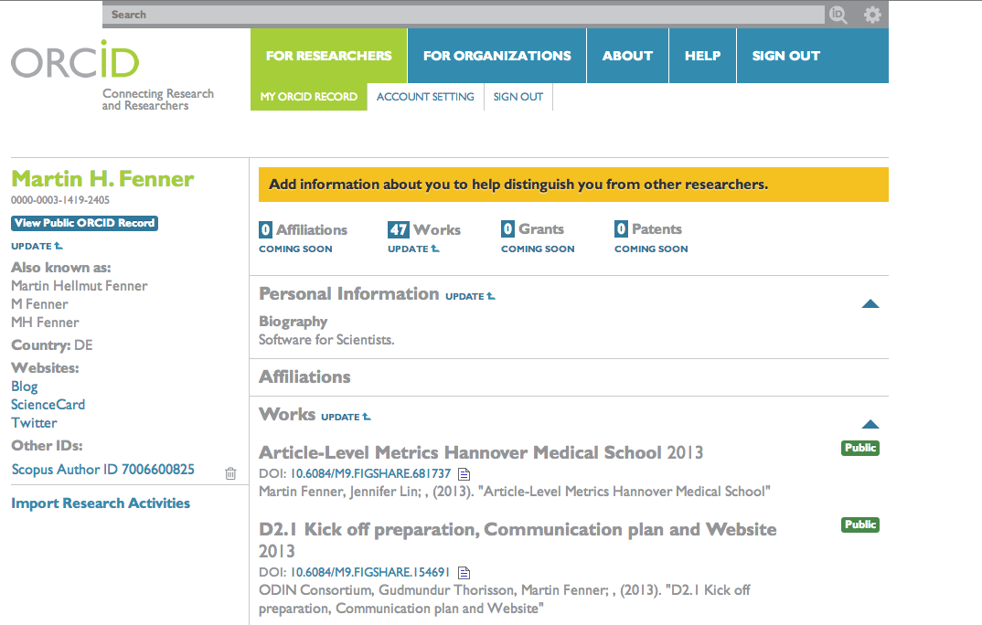 Figure 1. Example ORCID Profile.